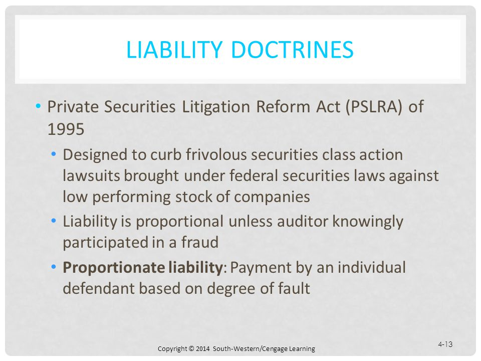Liability Doctrines Private Securities Litigation Reform Act (PSLRA) of 1995.