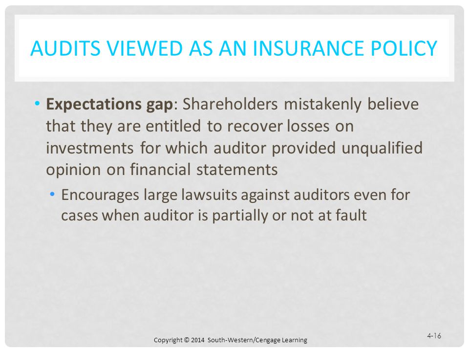Audits Viewed as an Insurance Policy