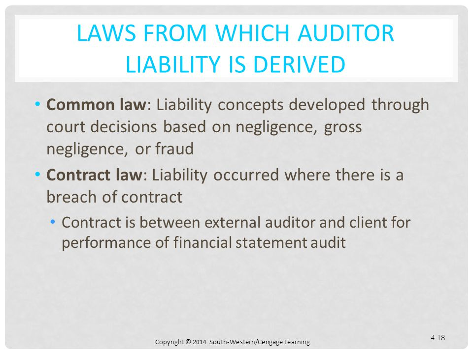 Laws from Which Auditor Liability is Derived