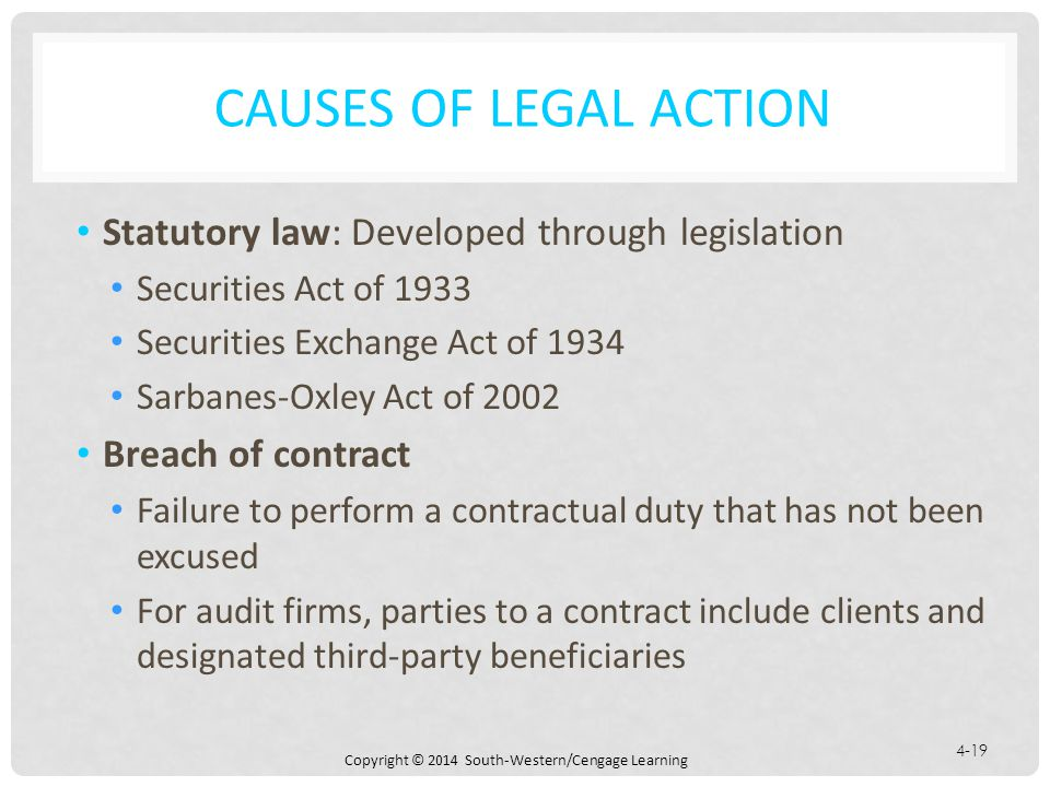 Causes of Legal Action Statutory law: Developed through legislation