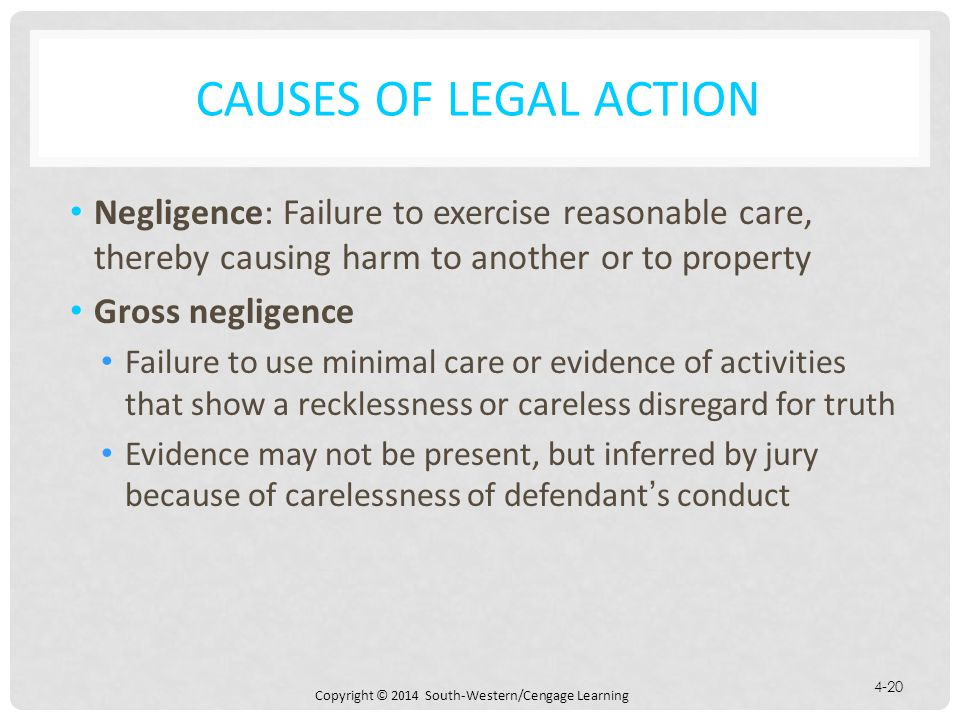 Causes of Legal Action Negligence: Failure to exercise reasonable care, thereby causing harm to another or to property.
