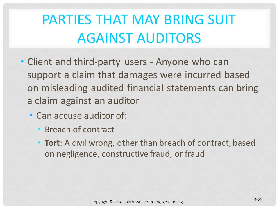 Parties that May Bring Suit against Auditors