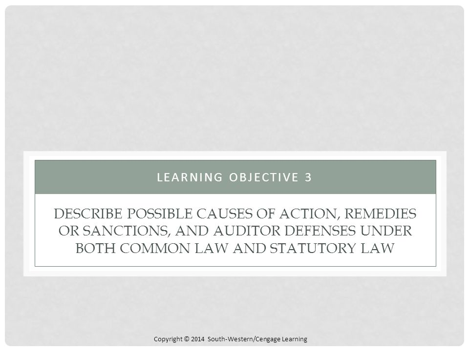 Learning Objective 3 Describe Possible Causes of Action, Remedies or Sanctions, and Auditor Defenses under both Common Law and Statutory Law.