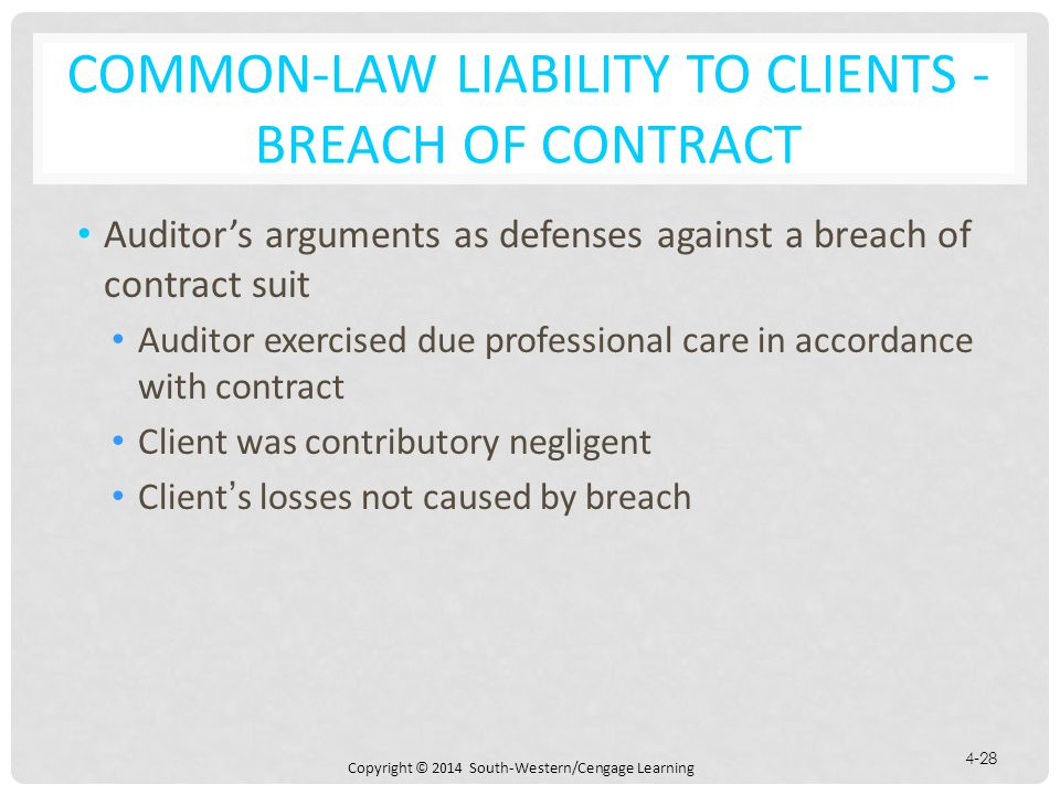 Common-Law Liability to Clients - Breach of Contract