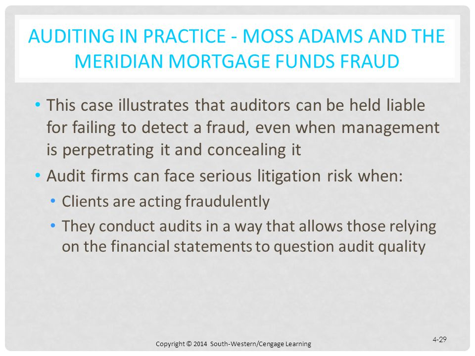 Auditing in Practice - Moss Adams and the Meridian Mortgage Funds Fraud