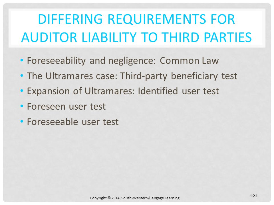 Differing Requirements for Auditor Liability to Third Parties
