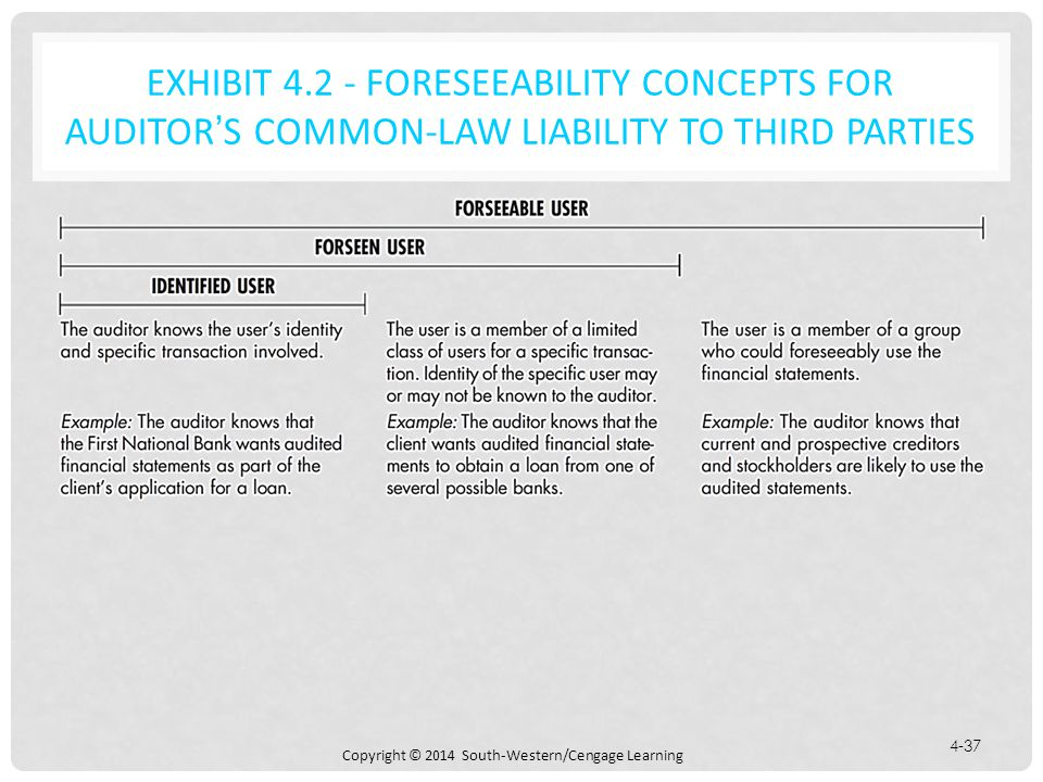 EXHIBIT 4.2 - FORESEEABILITY CONCEPTS FOR AUDITOR'S COMMON-LAW LIABILITY TO THIRD PARTIES