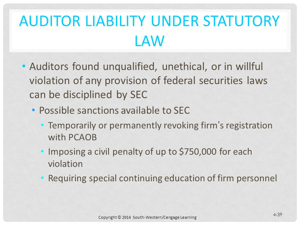 Auditor Liability under Statutory Law