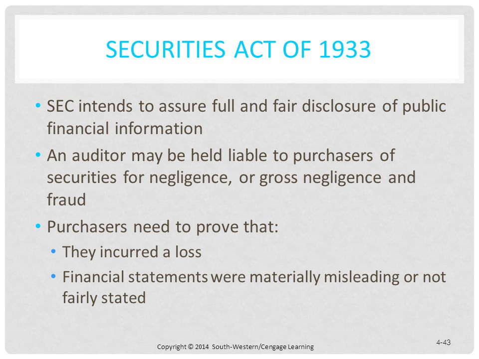 Securities Act of 1933 SEC intends to assure full and fair disclosure of public financial information.