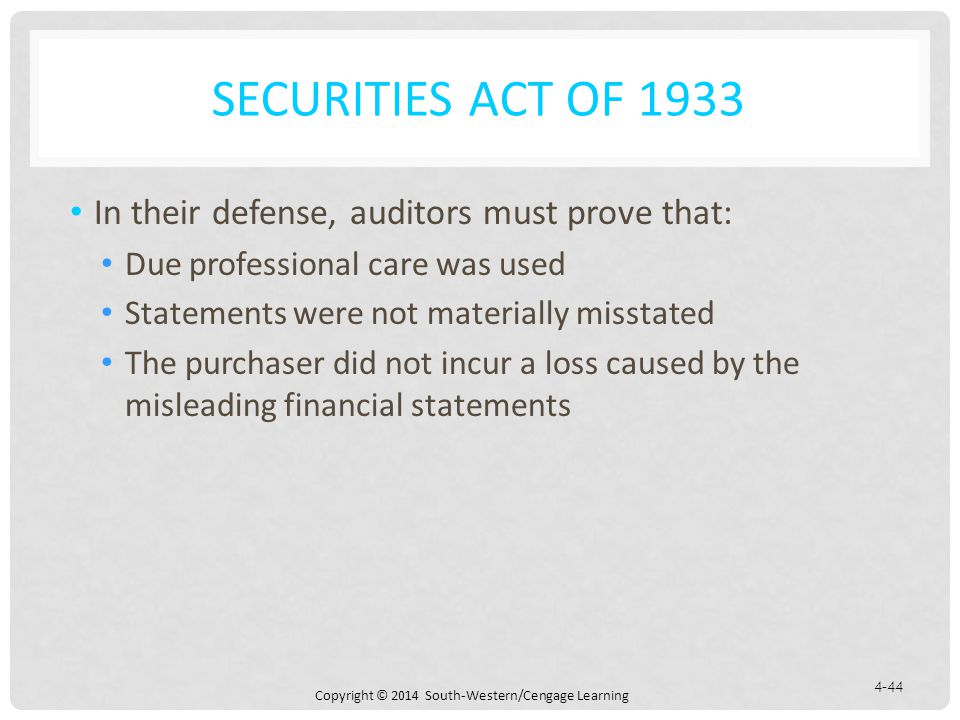 Securities Act of 1933 In their defense, auditors must prove that: