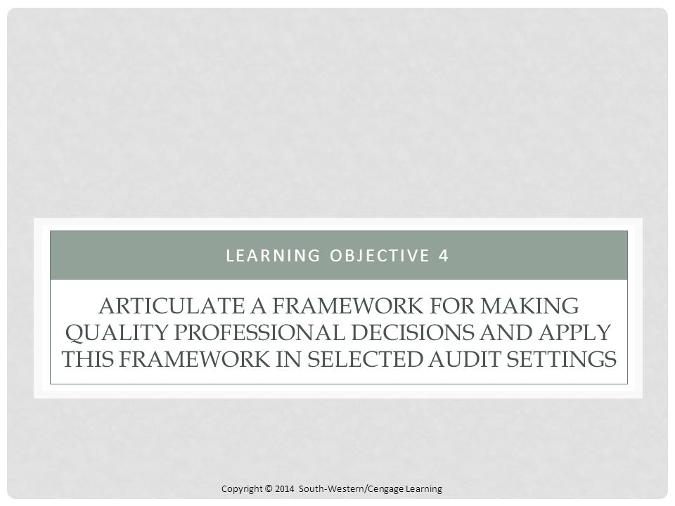 Learning Objective 4 Articulate a Framework for Making Quality Professional Decisions and Apply This Framework in Selected Audit Settings.