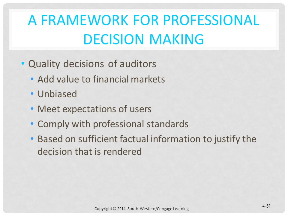A Framework for Professional Decision Making