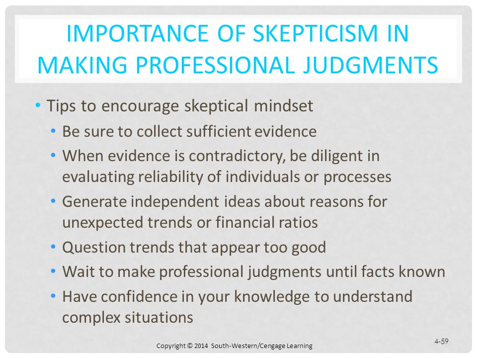 Importance of Skepticism in Making Professional Judgments