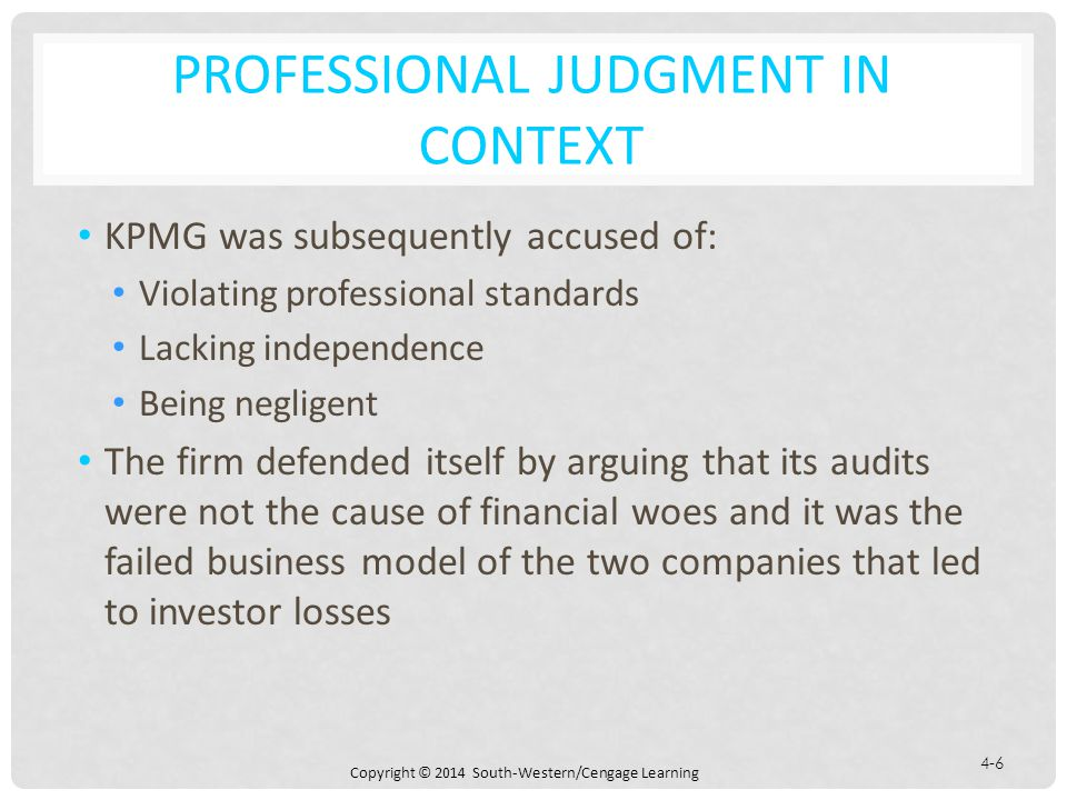 PROFESSIONAL JUDGMENT IN CONTEXT