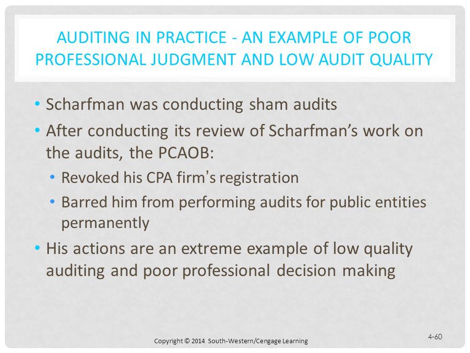 Scharfman was conducting sham audits