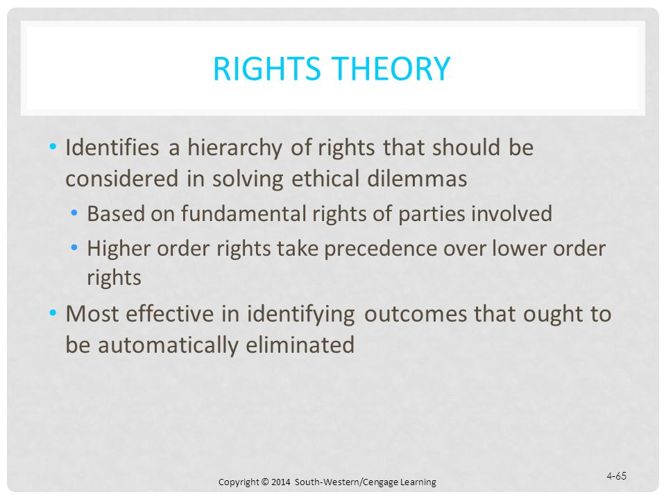 Rights Theory Identifies a hierarchy of rights that should be considered in solving ethical dilemmas.