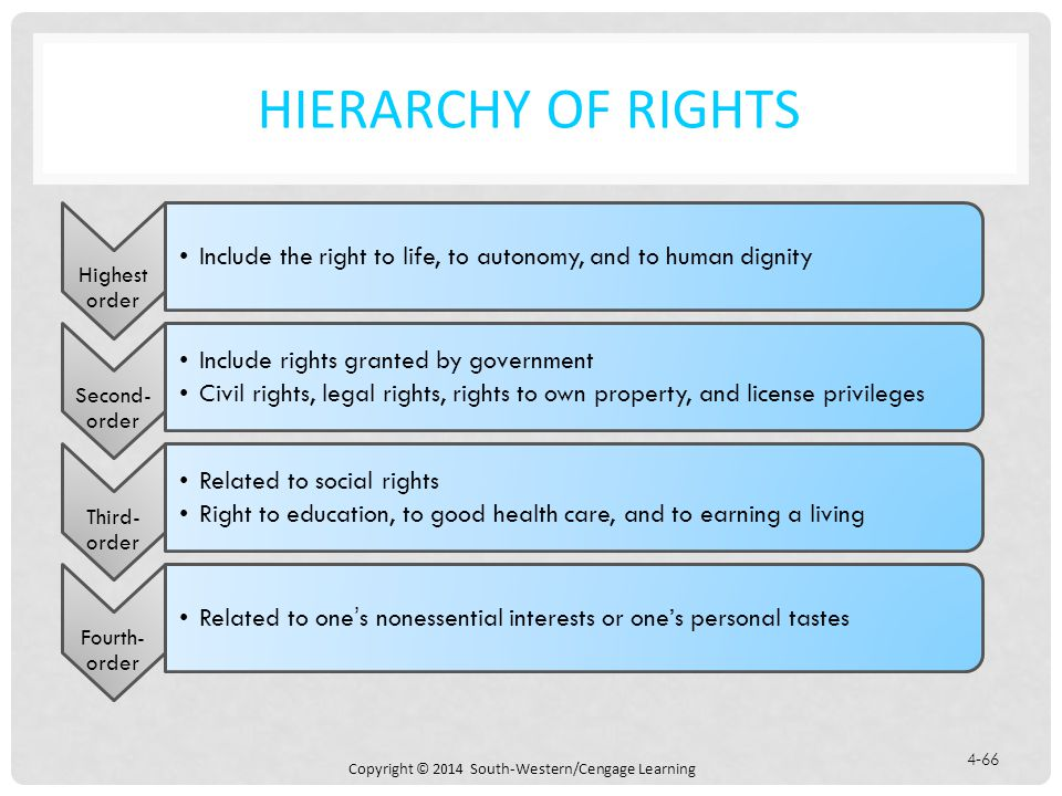 Hierarchy of Rights Highest order. Include the right to life, to autonomy, and to human dignity. Second-order.