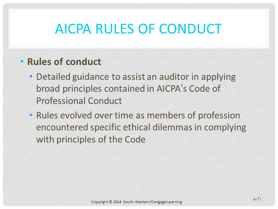 AICPA Rules of Conduct Rules of conduct