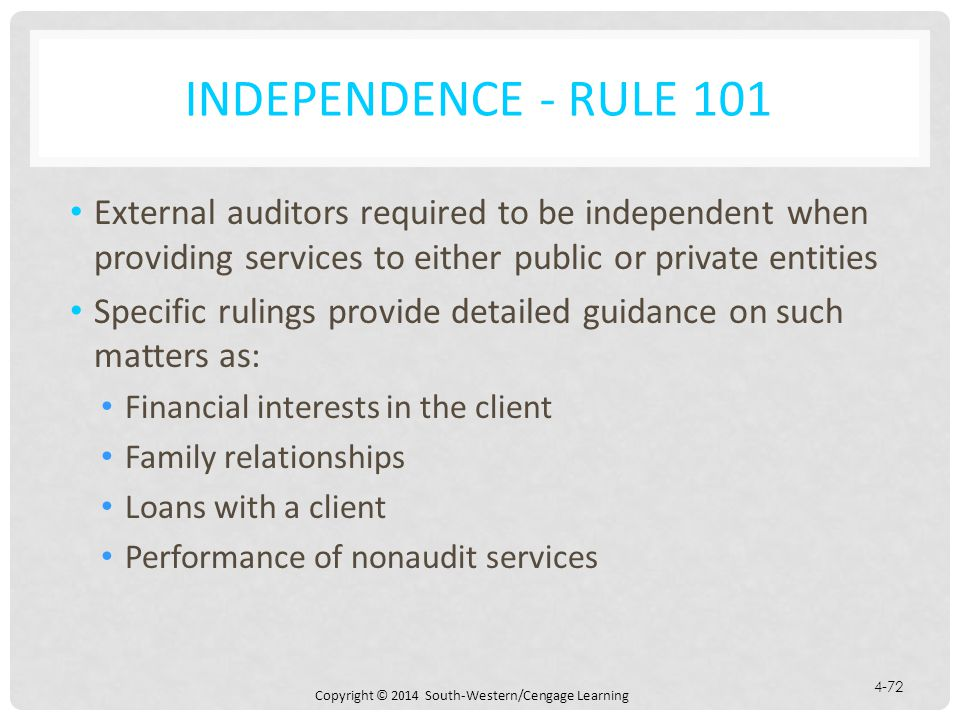 Independence - Rule 101 External auditors required to be independent when providing services to either public or private entities.