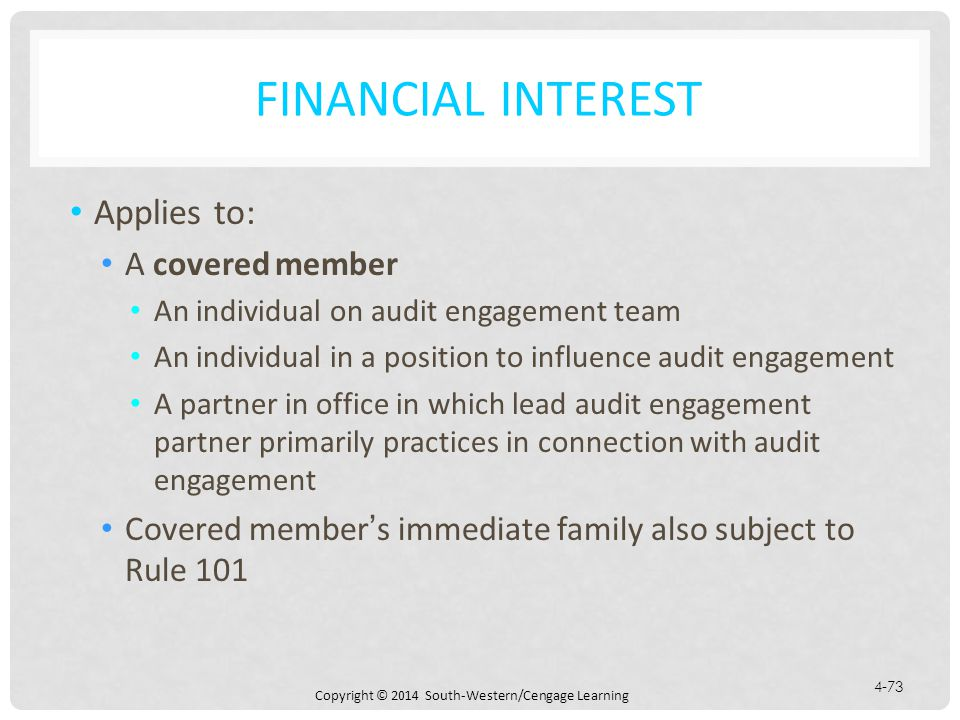 Financial Interest Applies to: A covered member
