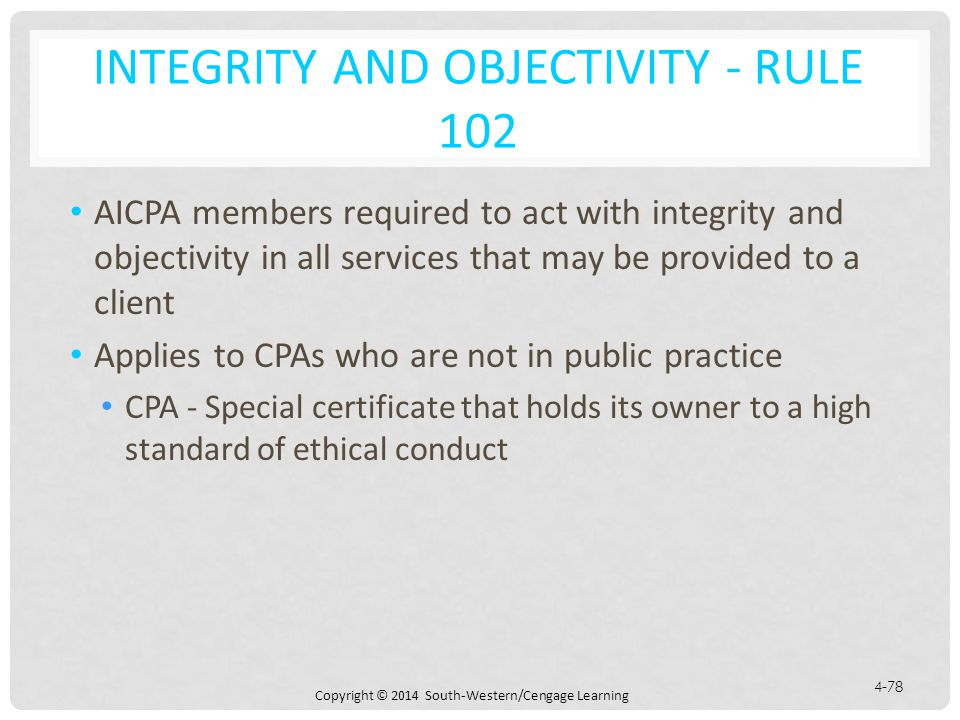 Integrity and Objectivity - Rule 102