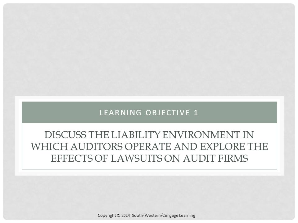 Learning Objective 1 Discuss the Liability Environment in Which Auditors Operate and Explore the Effects of Lawsuits on Audit Firms.