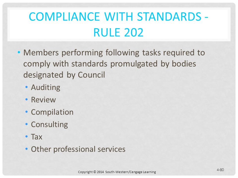 Compliance with Standards - Rule 202
