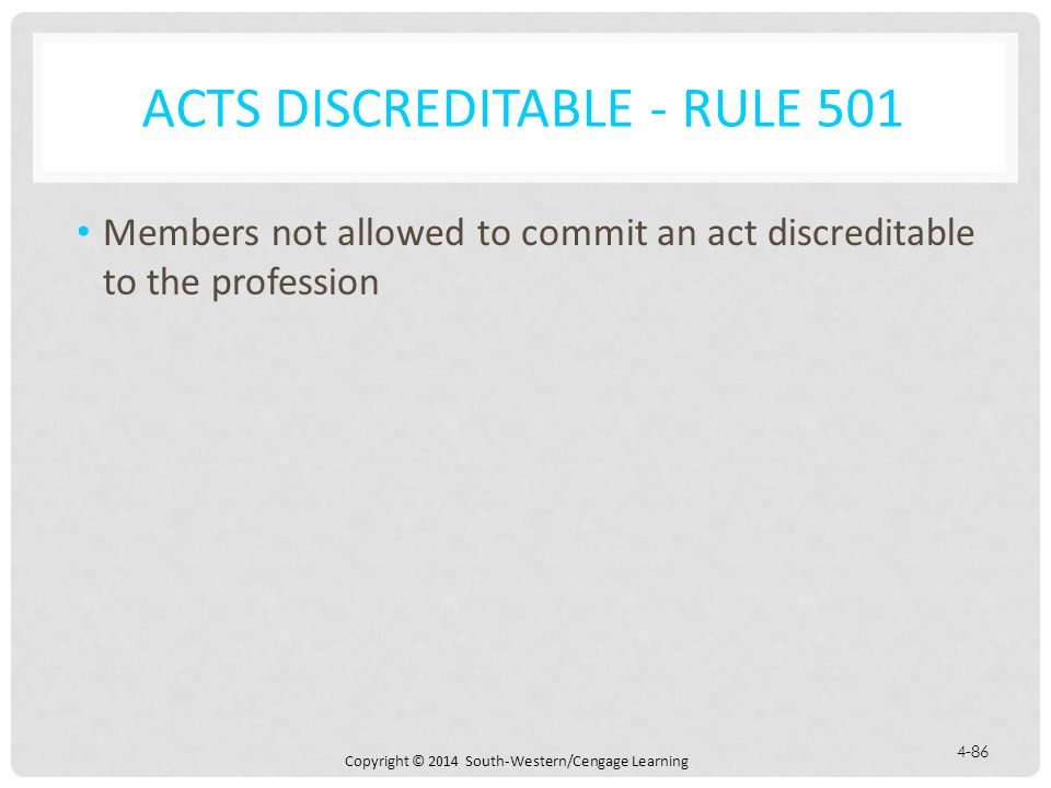Acts Discreditable - Rule 501