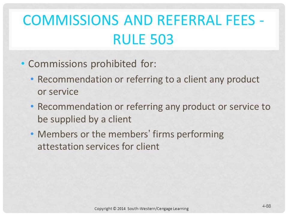 Commissions and Referral Fees - Rule 503
