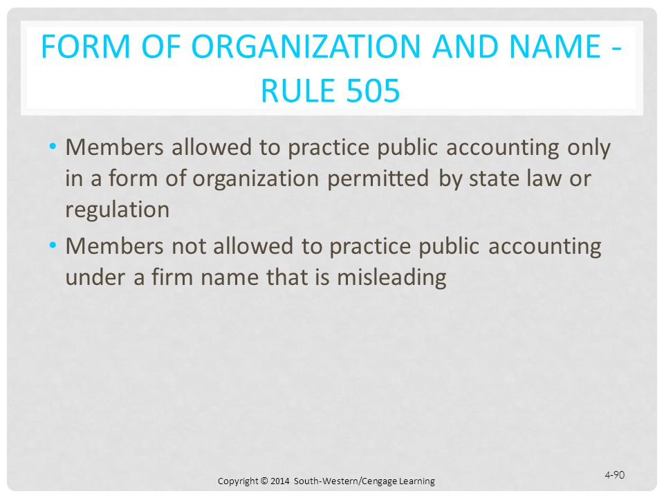 Form of Organization and Name - Rule 505