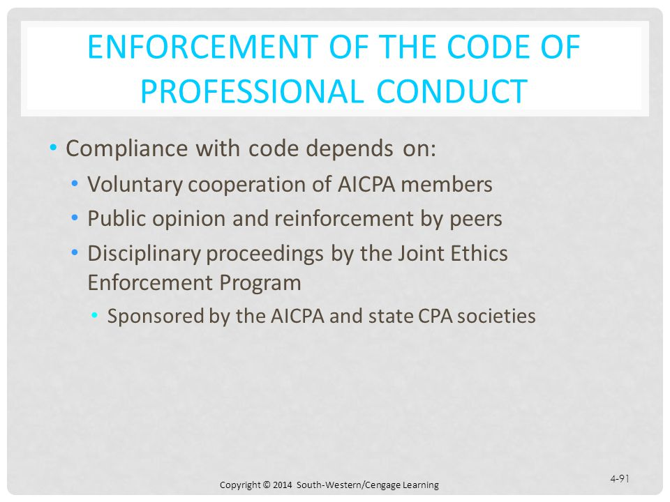 Enforcement of the Code of Professional Conduct