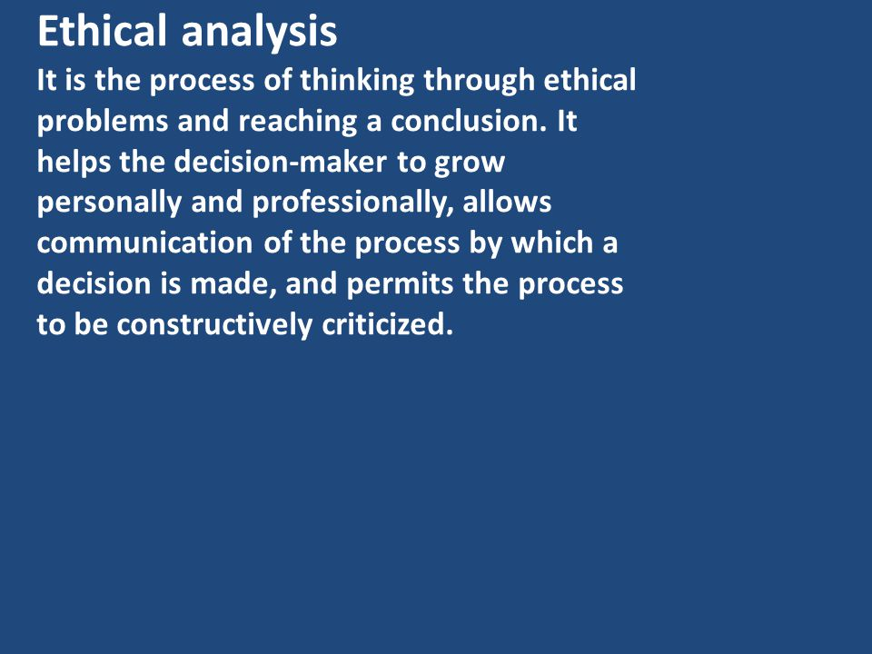 Ethical analysis