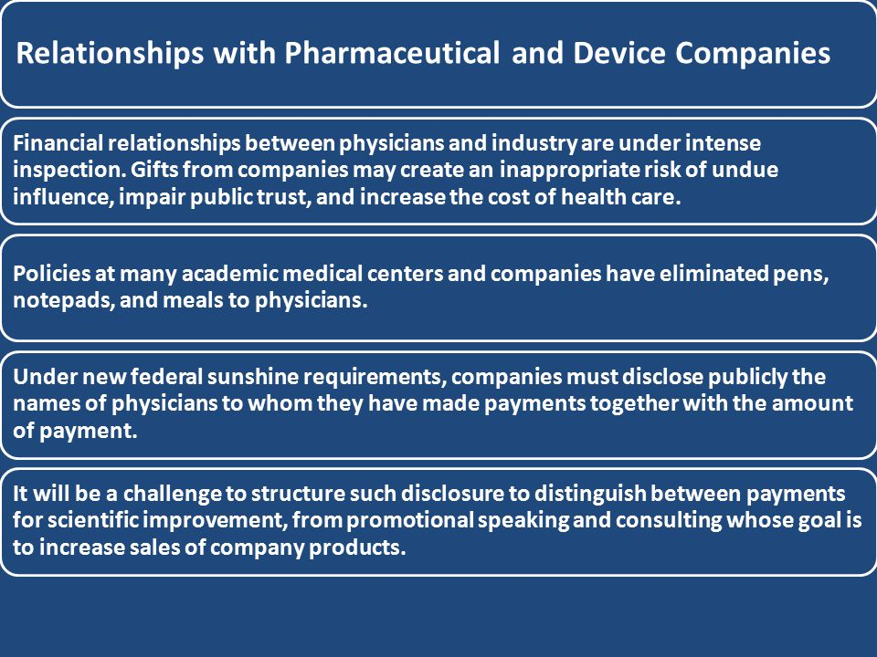 Relationships with Pharmaceutical and Device Companies