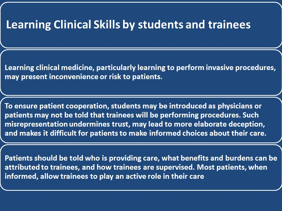 Learning Clinical Skills by students and trainees