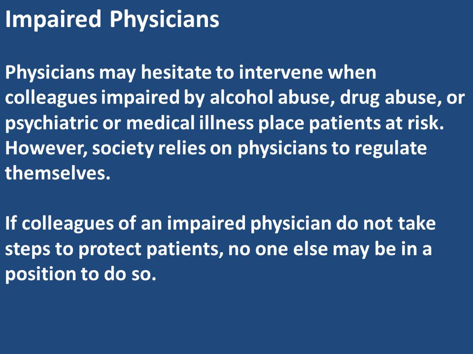Impaired Physicians