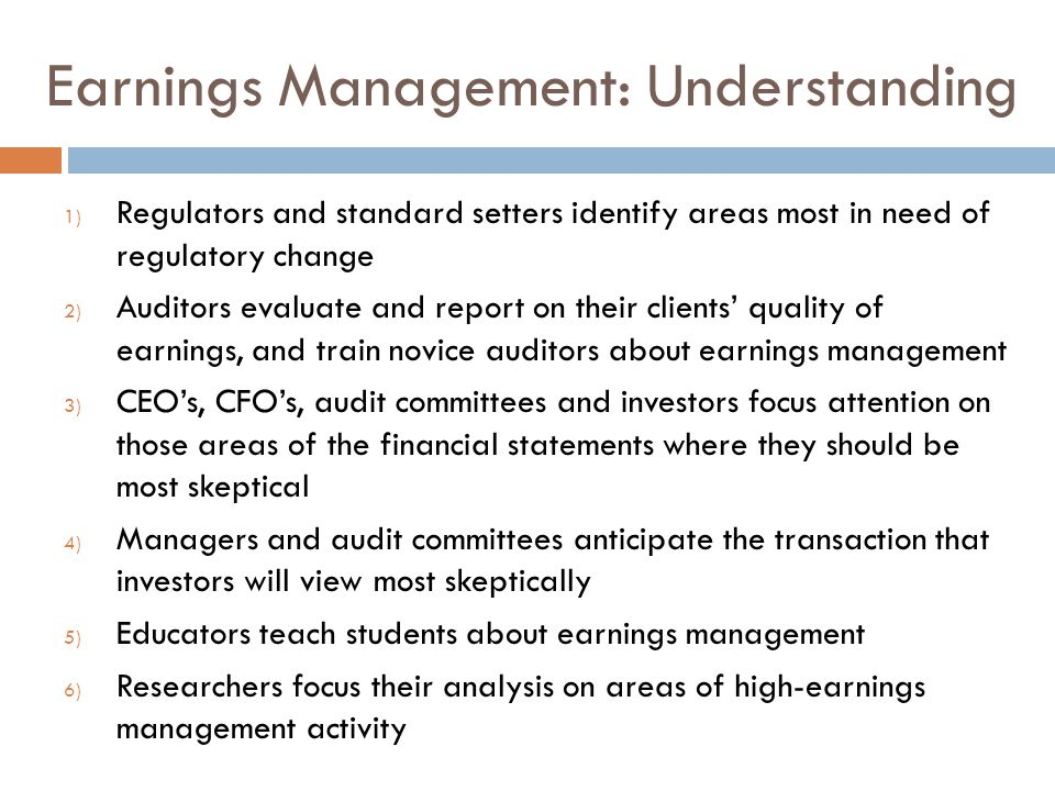 Earnings Management: Understanding