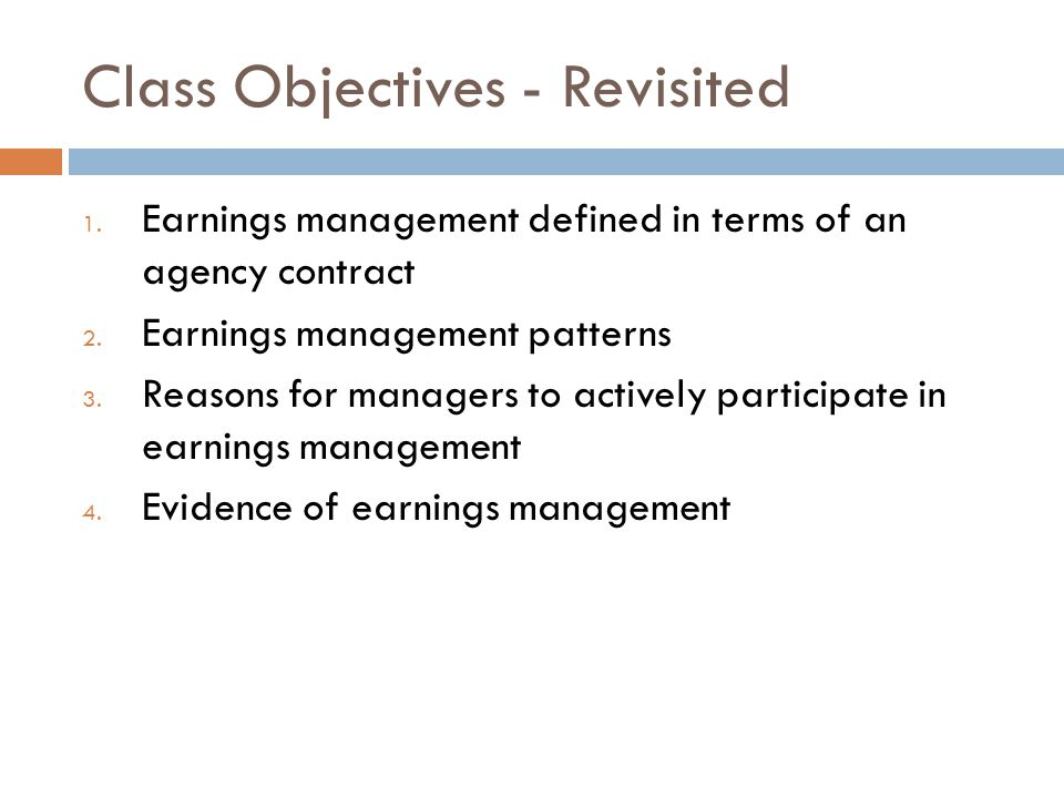 Class Objectives - Revisited