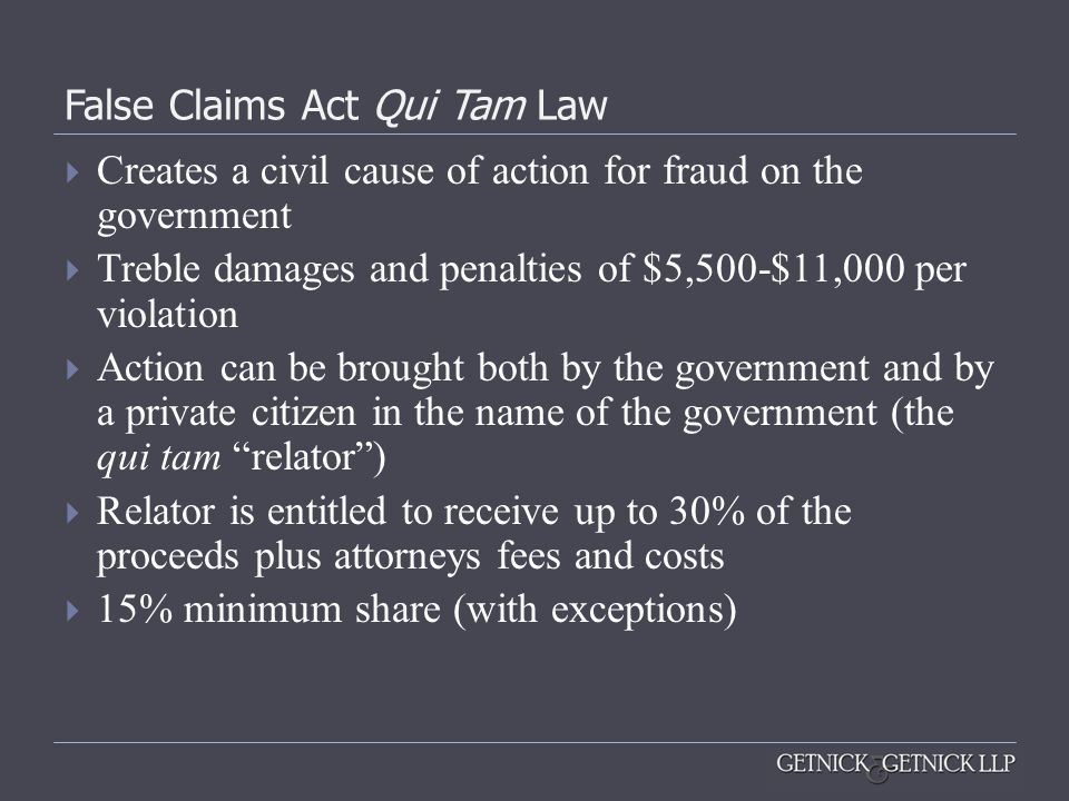 False Claims Act Qui Tam Law