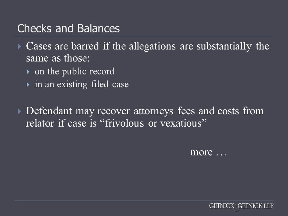 Checks and Balances Cases are barred if the allegations are substantially the same as those: on the public record.