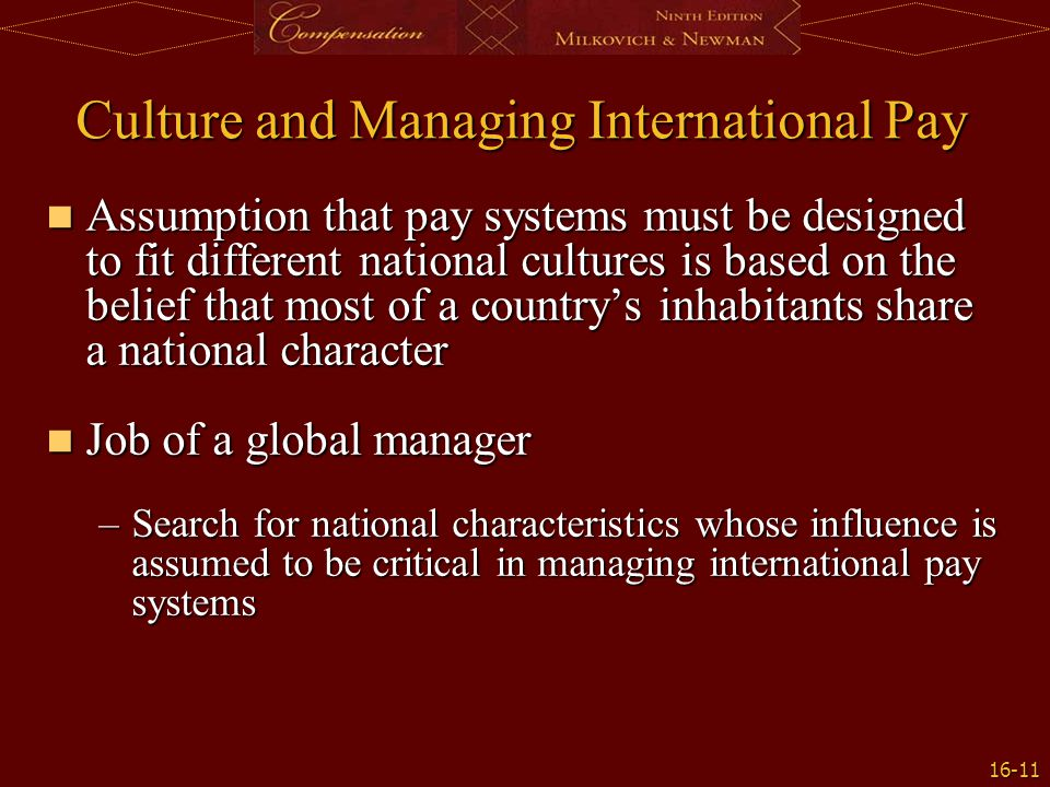 Culture and Managing International Pay