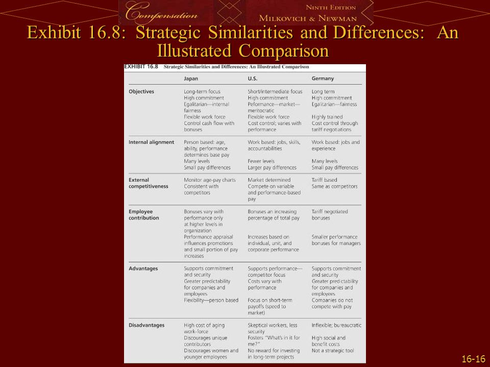 Exhibit 16.8: Strategic Similarities and Differences: An Illustrated Comparison