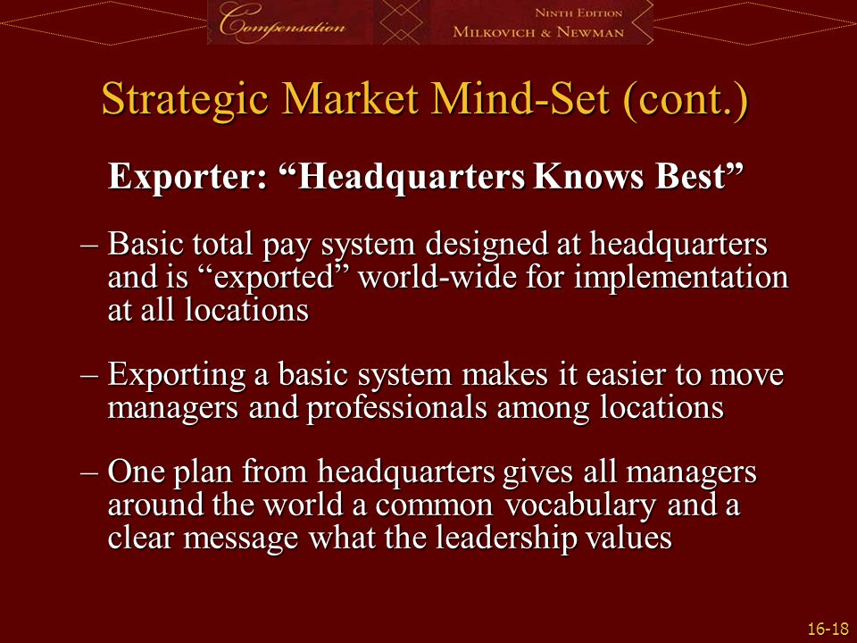 Strategic Market Mind-Set (cont.)