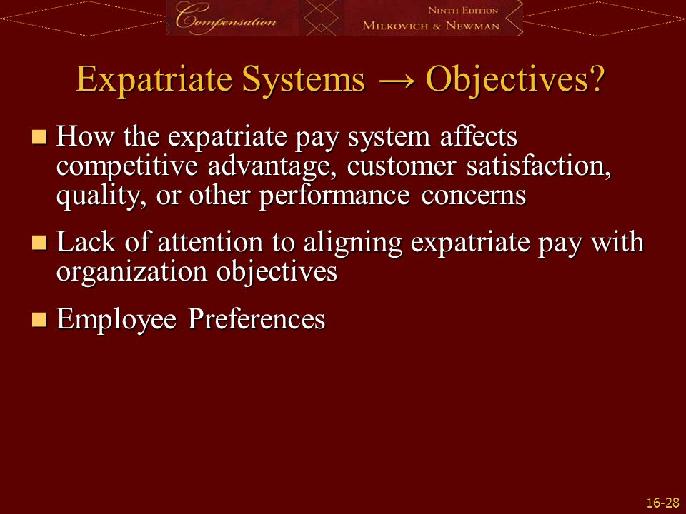 Expatriate Systems → Objectives