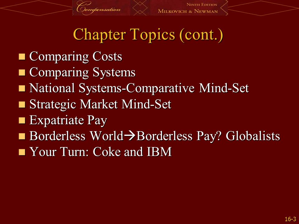 Chapter Topics (cont.) Comparing Costs Comparing Systems