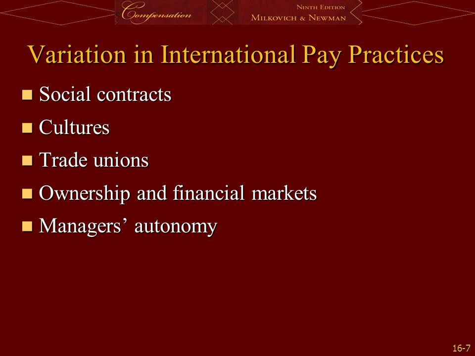 Variation in International Pay Practices