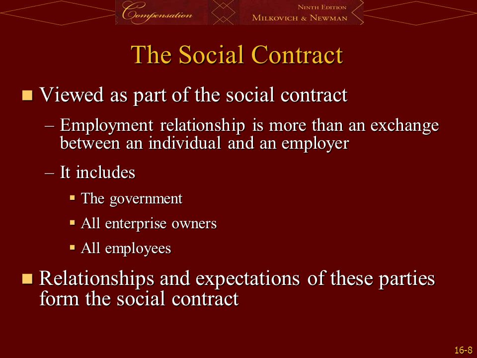 The Social Contract Viewed as part of the social contract