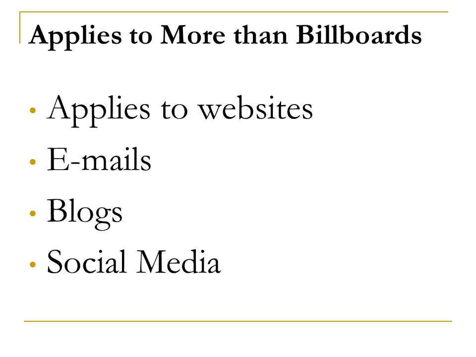 Applies to More than Billboards