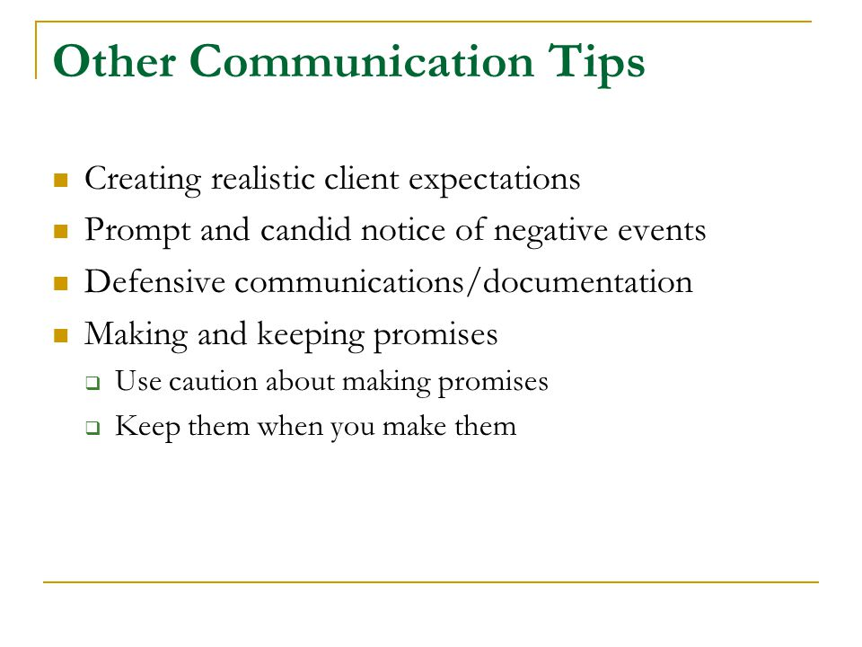 Other Communication Tips