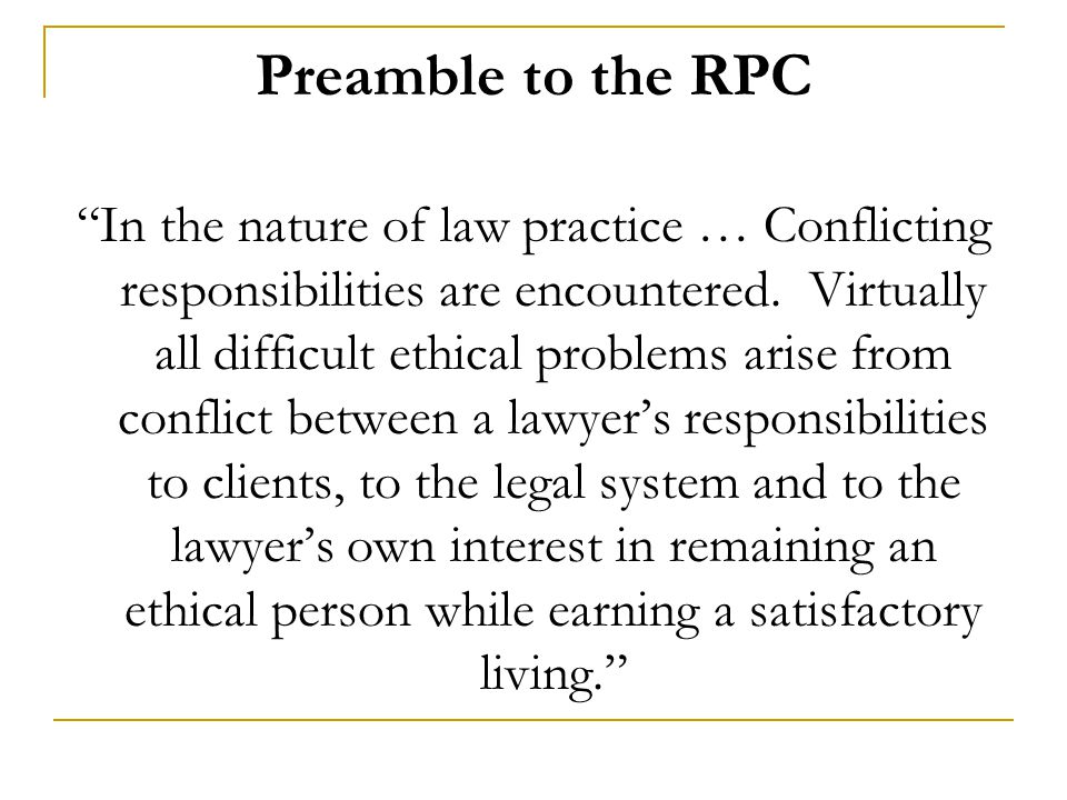 Preamble to the RPC