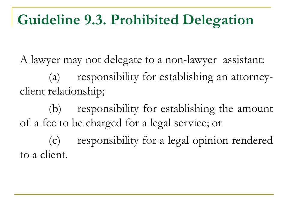 Guideline 9.3. Prohibited Delegation